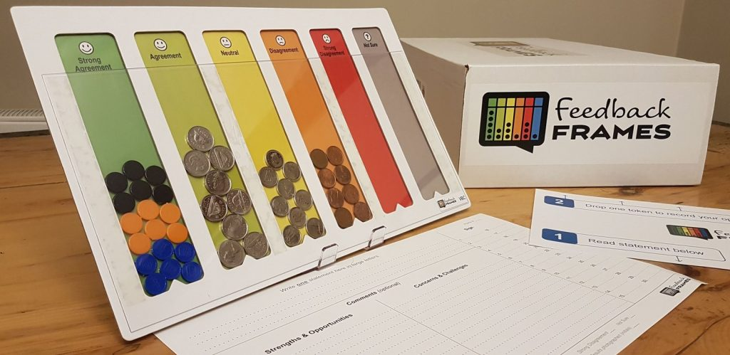 Feedback Frames with different colour tokens and coins